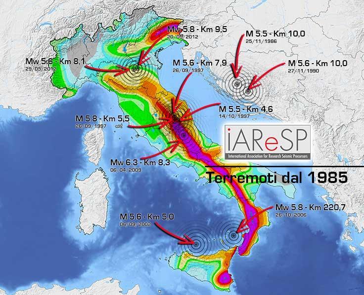 Magnitudo 5.5+, sono 8 i terremoti italiani dal 1985. Il prossimo a breve?